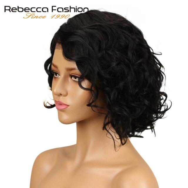 Rebecca L malla con división frente pelucas de cabello humano para las mujeres negras rizado natural peruano Remy Romance rizado peluca 10 pulgadas envío gratis