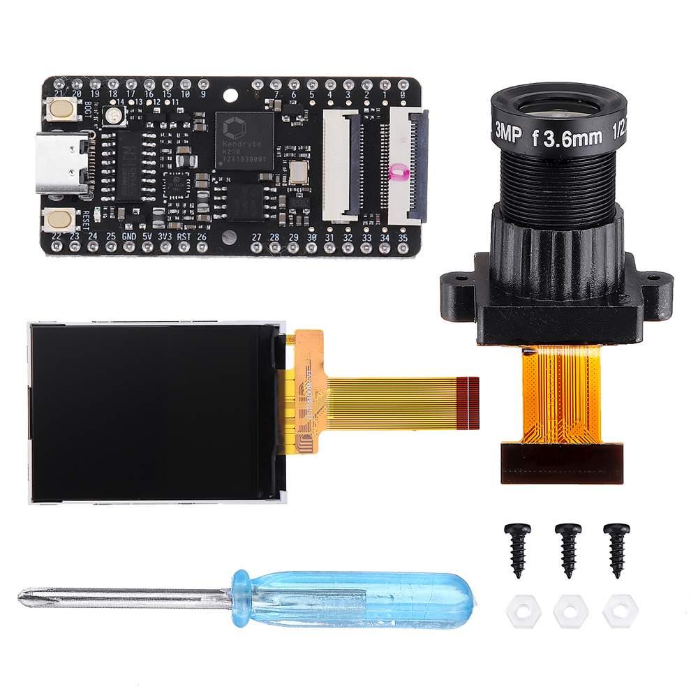 Maix BIT RISC V Dual Core 64bit CPU Development Board Mini PC + Large Lens + Display Screen Kit