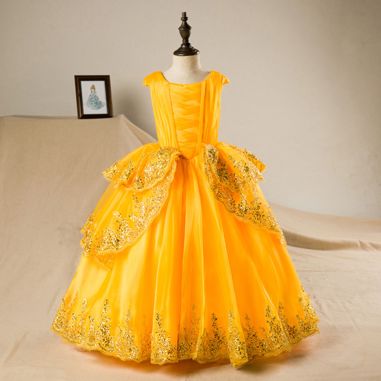 Belle Costume Beauty and the Beast Princess Party Ball Gown Flower Kids Girls Dress