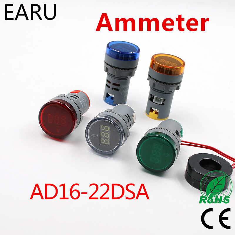 الرقمية 22 مللي متر التيار المتناوب 12-500 فولت فولت 0-100A 20-75 هرتز الفولتميتر مقياس التيار الكهربائي أمبير الحالي هيرتز الجهد متر مصباح ليد بالمؤشر مصباح إرشاد