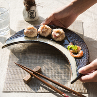 Creative personality Japanese style kiln change ceramic moon plate features restaurant cutlery dishes sushi plate household uten