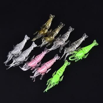 JINHF 10 Pcslot 4.8cm Shrimp Soft Lure 9cm6g Fishing Artificial Bait With Glow Hook Swivels Anzois Para Pesca Rigs