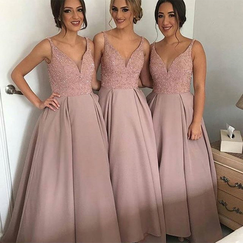 Vestido Madrinha Hot Sale   Bridesmaid     Dresses   Long Pink Wedding Guest Prom   Dress   Sexy V-Neck Fully Beaded Formal Party Gown 2017