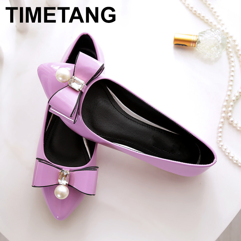 TIMETANG Women casual flat heel shoes New fashion pointed Toe bowknot crystal diamond leather Women's flats shoes  C109 pu pointed toe flats with eyelet strap