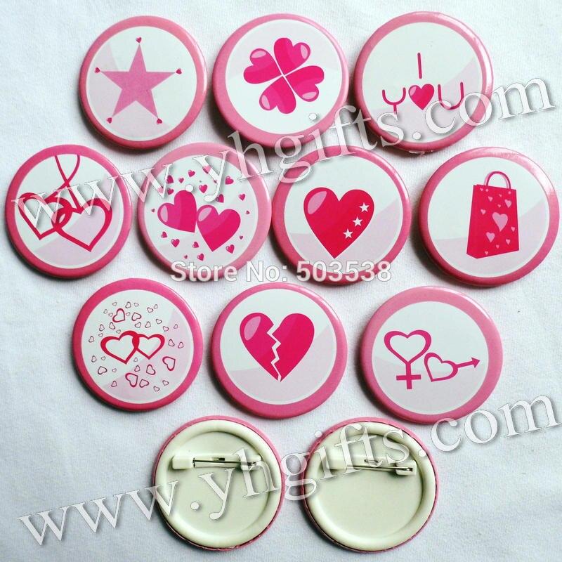 30 unids/lote, 4.5 cm (1.7 pulgadas), Rosa corazón te amo insignia ...