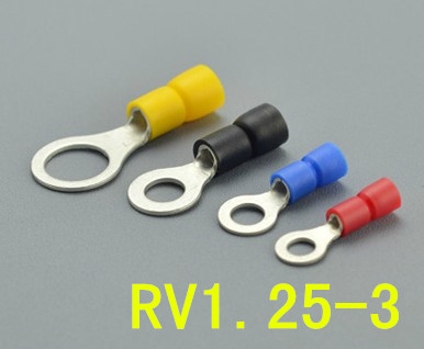 RV1.25-3 pre insulated round cold pressed terminal head O type wiring terminal per pack of 1000 brass