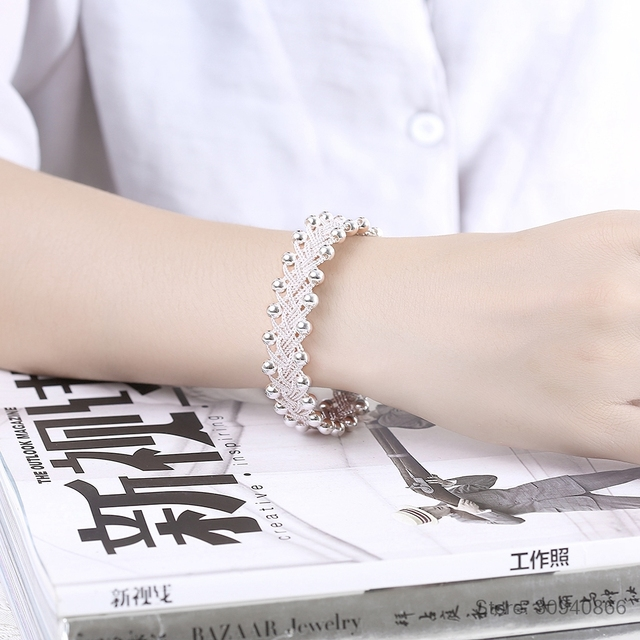 Hot Sales Promotions! Hiphop Punk Style Bangles Bracelets Nice 925 Sterling Silver Rock Design Ball Beads Jewelry Top Quality 5