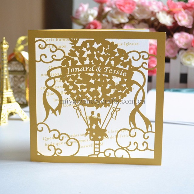 75pcs Personalised Fancy Cheap Paper Invitations Hot Air Balloon