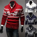 New 2014 Spring & Winter Christmas Snow Large V-neck Knitted Mens Sweaters Pullover Slim Fit Outerwear Man Clothing M-XXL