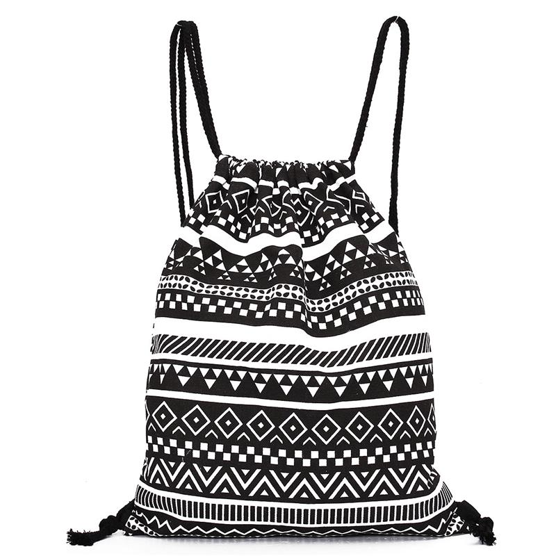 6 Color Exquisite Women Canvas Drawstring Backpack Vintage Printed Students School Bag Fashion Cute Rucksacks For Girls