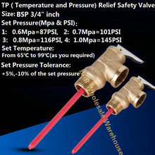 "BSP3/4 ""inch DN20 TP relief veiligheidsklep 87/101/116/145PSI TP valve 0.6 /0.7/0.8/1Mpa Temperatuur en druk veiligheidsklep"