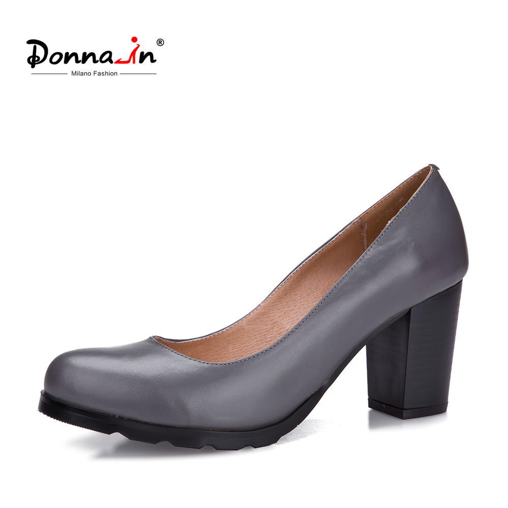 Donna-in 2018 new spring Women Genuine Leather  Thick High Heel Pumps Women Shoes  Retro Classic Comfortable Ladies Shoes qiu dong in fashionable boots sexy and comfortable women s shoes the new national style high heel heel thick heel