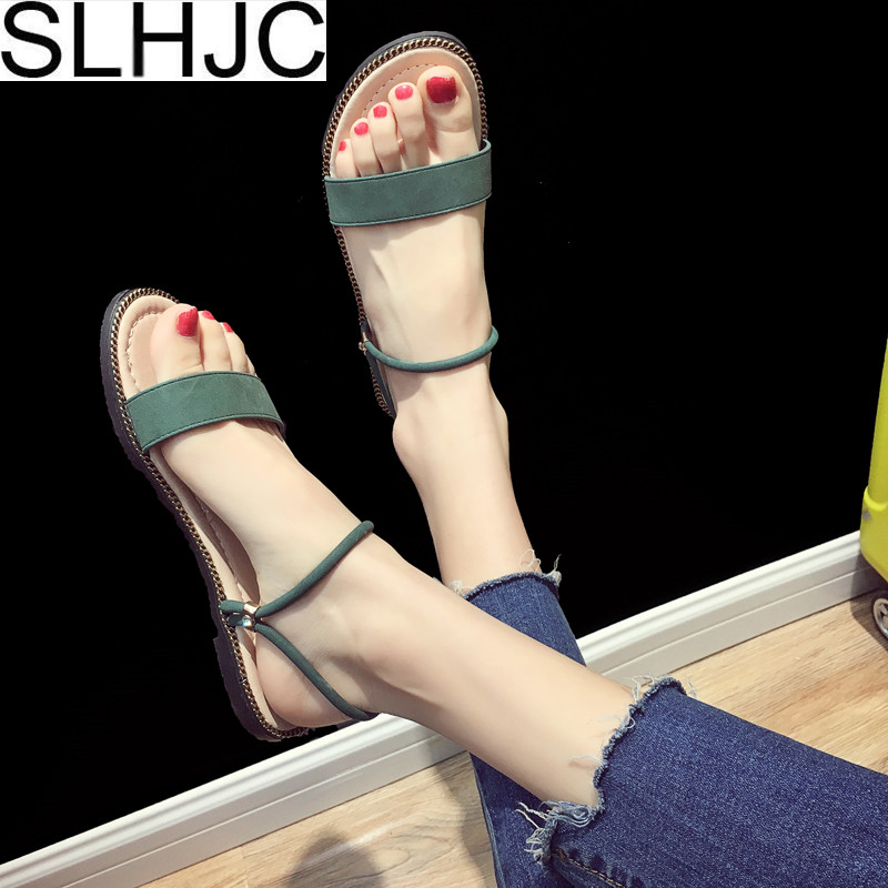SLHJC Promotion Sandals Women Summer Flat Heel Open Toe Casual Shoes Slippers Beach Sand ...