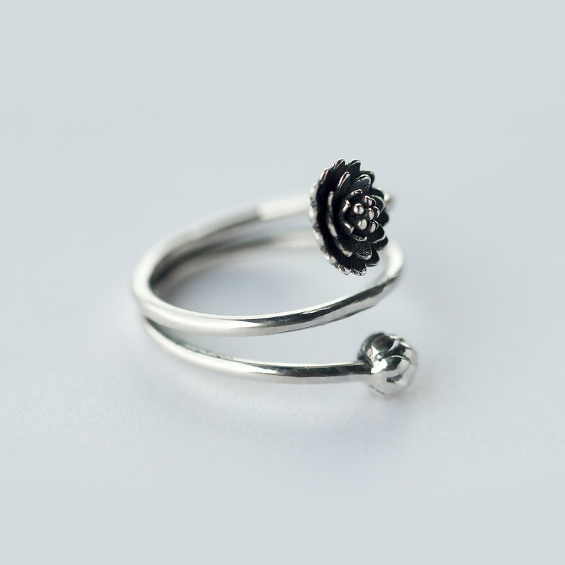 Retro REAL.Solid 925 Sterling Silver 3-layers Multi-Rows Lotus Flower - Perhiasan bagus - Foto 3