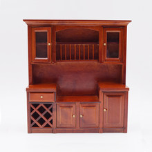 1:12 Scale Wooden Dollhouse Miniature Kitchen Cabinet Pretend Play Furniture Accessories Toy(China)