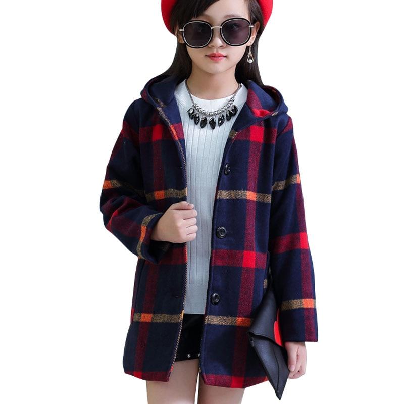 Offen Neue Herbst Winter Teenager Mädchen Outwear Karierten Woolen Jacke Mantel Für Mädchen Trenchcoat Kinder Kinder Outwear Tops Mädchen Kleidung Preisnachlass