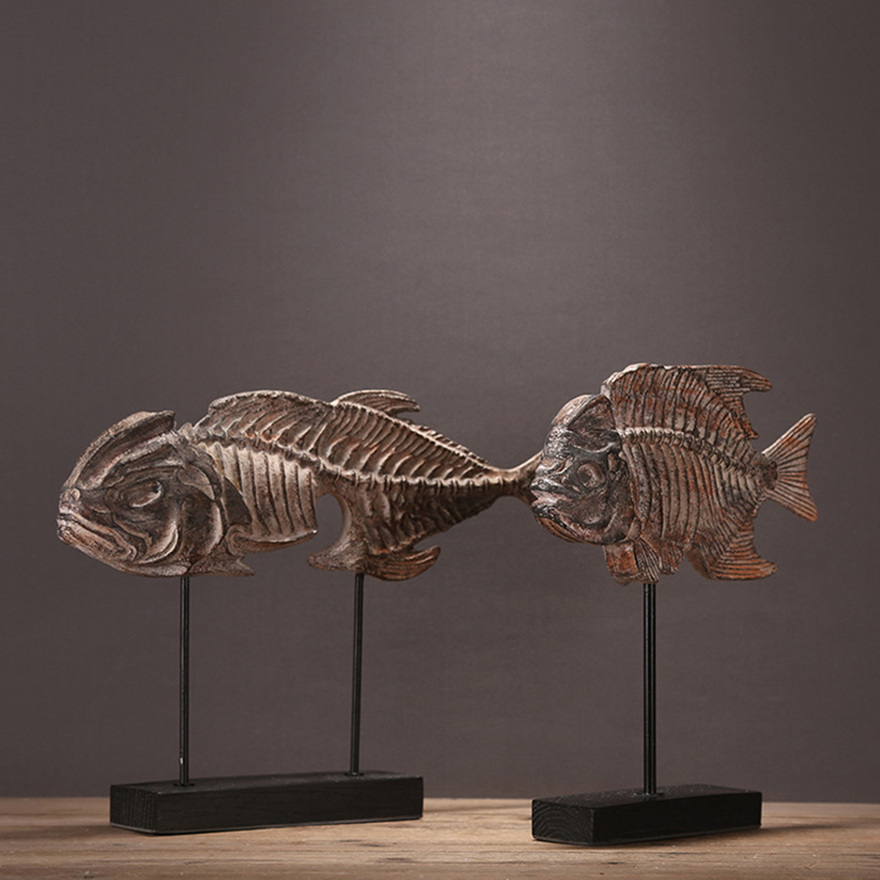 European creative fossil marine fish fishbone soft outfit simulation model of the home decoration Home Furnishing study bookcase