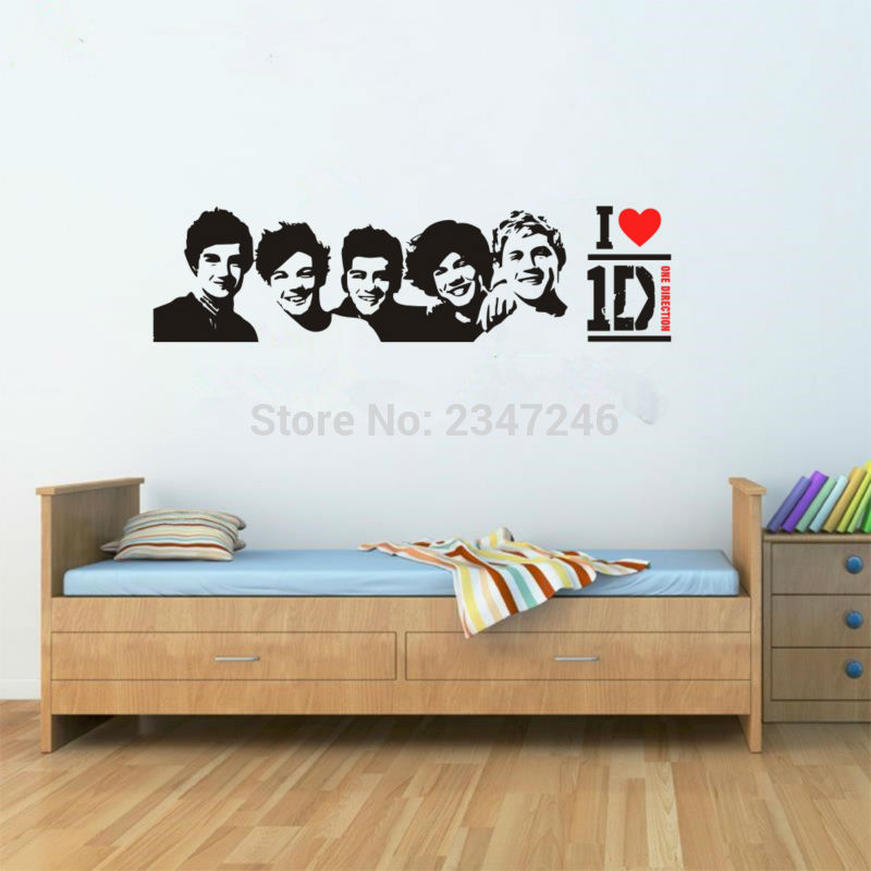 ... One Direction Wall Stickers Famous England Music Band Stars Wall Decals  Character Posters Wall Arts Home ... Part 29