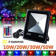 T-SUNRISE RGB 10W 20W 30W 50W LED Flood Light Spotlights Outdoor Security with Remote IP65 Outdoor Lighting For Garden Yard