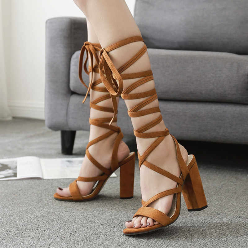 3609a6d0cdb 2019 New Sexy knee high Strappy Gladiator Women Sandals Thick High Heels  Boots Woman Lace-Up Block Summer Boots Gladiator shoes