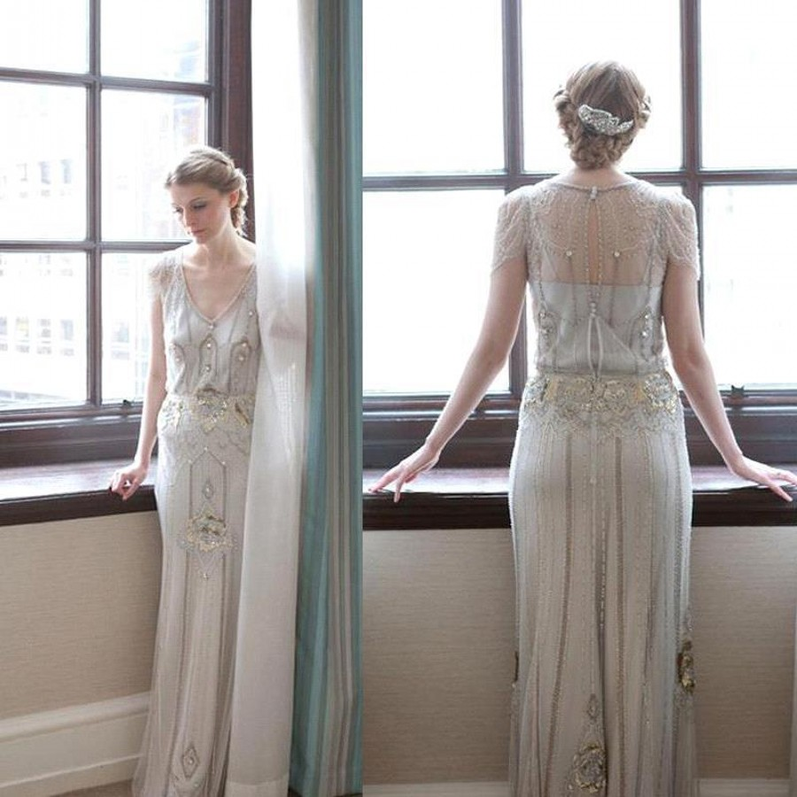 2016 Jenny Packham Eden Style Wedding Dresses With Cap Sleeves Fashion  Beading Gold Sequins Long Bridal Gown Backless-in Wedding Dresses from  Weddings ... f059cdf4a558