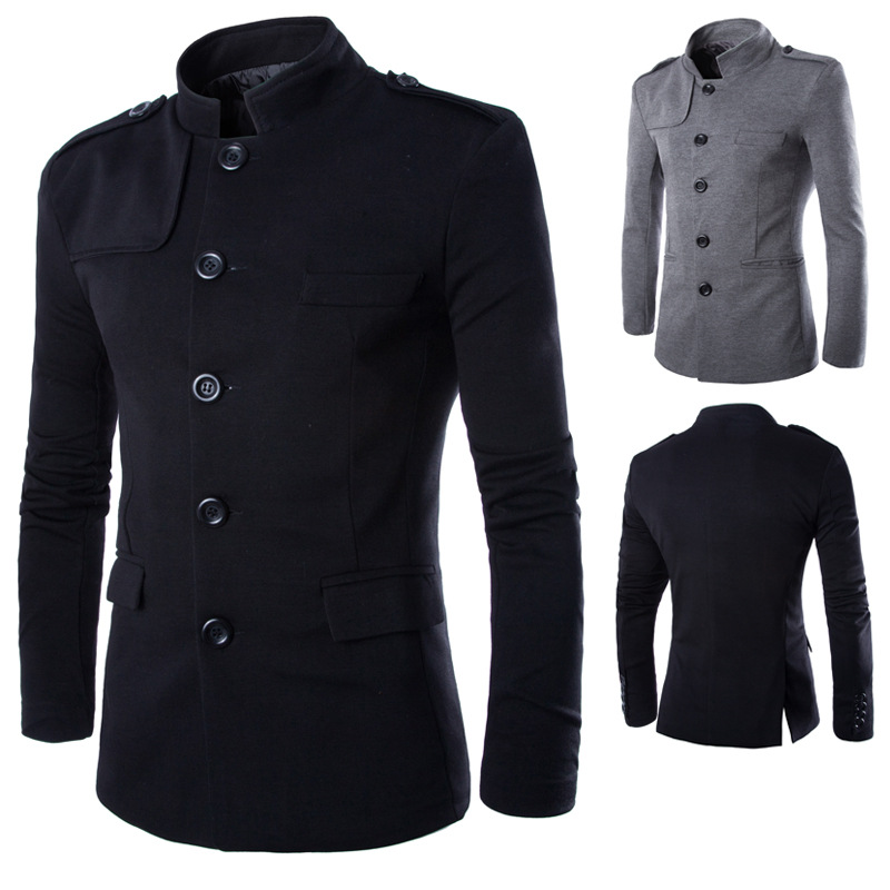 New Chinese Style Business Men  Blazer Dropshipping Casual Stand Collar FashionJacket Male Clothes Slim Fit Mens Coat Size S-2XL