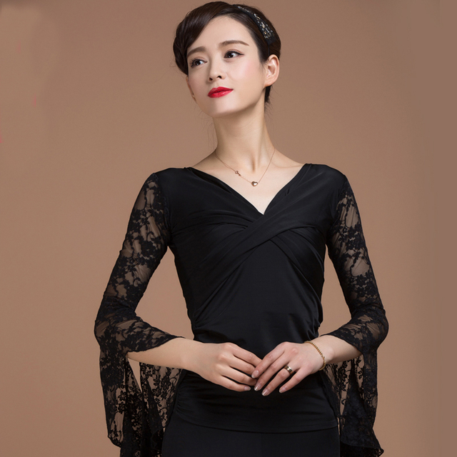 122e1fbb619 Black Ballroom Sexy modern long sleeve lace Latin dancing clothing top for  women female