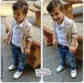 Conjuntos de roupas infantis casuais primavera/outono conjuntos de roupas de bebê menino Menino terno de algodão Crianças outerwear/casacos + camisas + calça jeans 3 pcs set