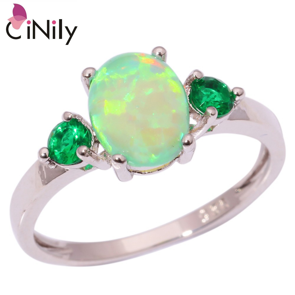 CiNily Created Green Fire Opal Green Zirconia Silver Plated Ring Wholesale Hot For Women Jewelry Ring Size 5-13 OJ1111