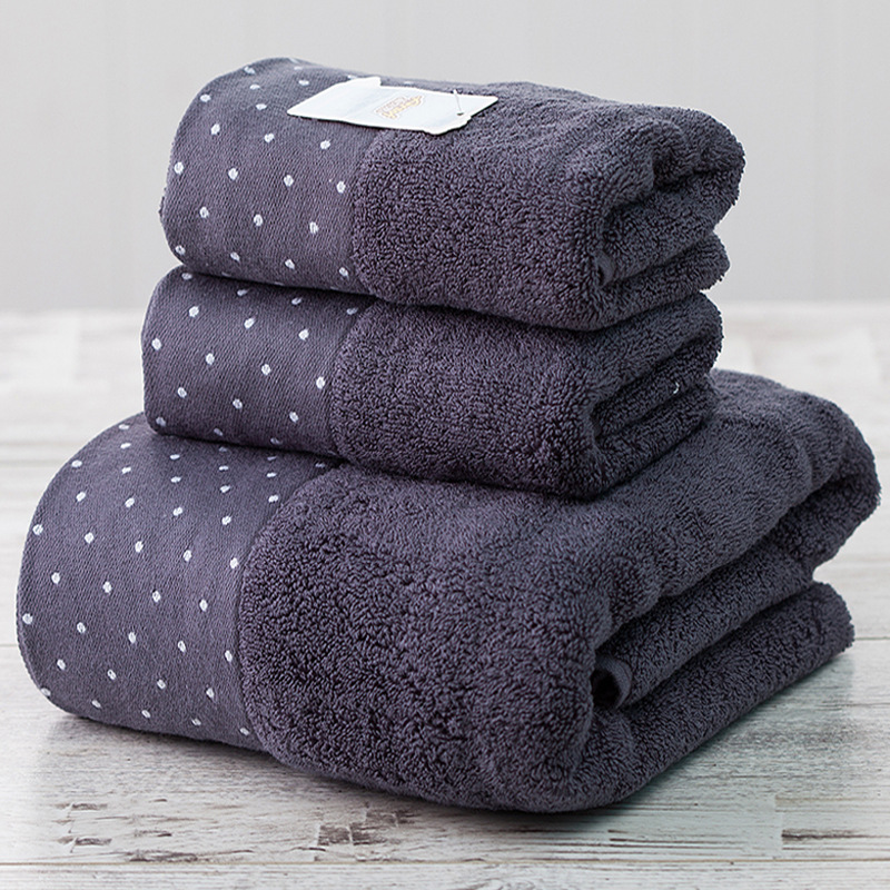 100% Cotton 3pcs / Set 100% Cotton Absorbent Towel Set Men Dot 1pcs 70x140cm Beach Bath Towel For Adults 2pcs 34x75cm Washcloth