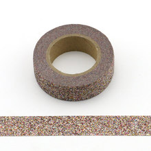 1pcs dark brown Glitter Washi Tape Scrapbooking Christmas Party Kawaii Cute Decorative Paper Crafts Hot Sale new arrival adhesive silver golden glitter washi tape scrapbooking christmas party kawaii cute decorative paper crafts hot sale
