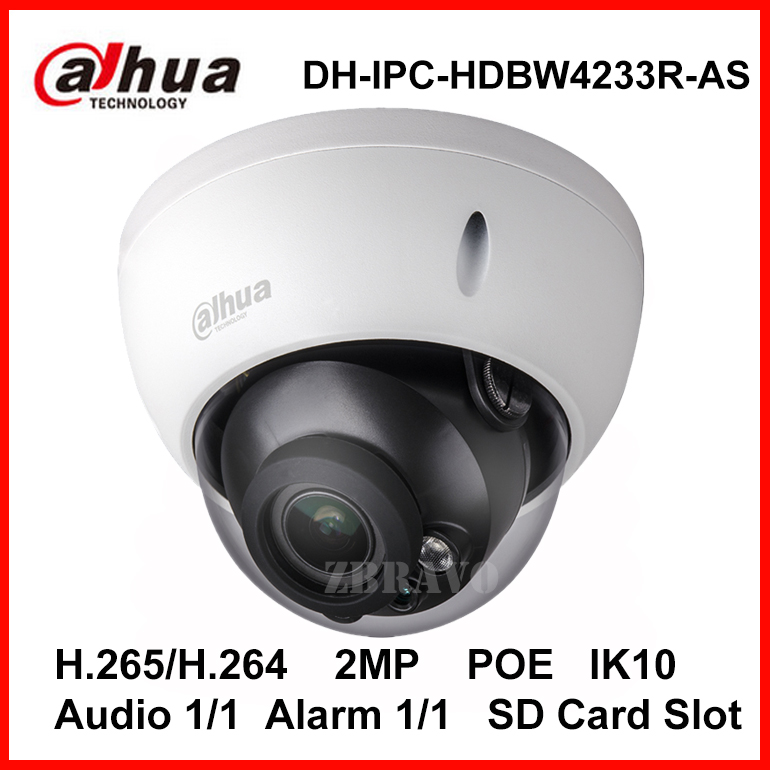 Dahua 2MP 1080P Starlight DH-IPC-HDBW4233R-AS IR 50M Mini Dome Network IP Camera with POE SD slot Audio Alarm Digital IP Camera wholesale dahua dh ipc hdbw4233r as 2mp ir mini dome network ip camera ir poe audio sd card stellar h265 h264 ipc hdbw4233r as