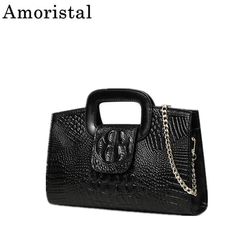 Genuine Leather Handbag Female Clutch Crocodile Pattern Chain Vintage Design Luxury Large Evening Bag Black Messenger Bag SY110