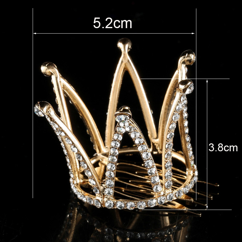TDQUEEN Tiaras and Crowns with Comb Gold Color Kids Girls Mini Round Hair Jewelry Accessories Pageant Prom Princess Tiara Crown (8)