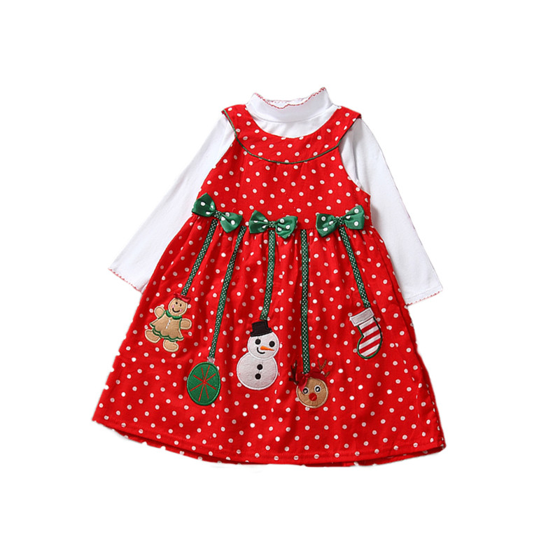 Kids baby girls girls long sleeve dot bow dress christmas festival new