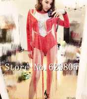 Fashion Leotard Lace Crystals Tassel Bodysuit Costume Red One Piece Long Sleeves Dance Nightclub Prom Performance Clothing