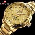 Мужчины кварцевые часы NAVIFORCE роскошные спортивные часы бизнес золото стали часы 30 М водонепроницаемый календарь наручные часы reloj hombre
