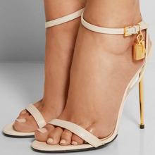 Sexy Strappy Gladiator Heels Metal Padlock Decorative Open Toe Womens Leather Sandals Sexy Stiletto Strappy Gladiator Heels Shoe strappy open shoulder jumper