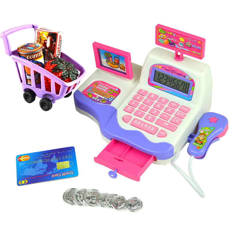 Creative Kid Toy Pretend Play Supermarket Cash Register Scanner Checkout Counter