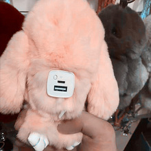 8000mAh Cute Bunny Power Bank for Christmas Gifts Fluffy Rabbit Pink Color Portable Key Ring External Battery Pack for iphone 8