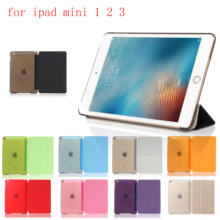 PC Leather Siamese Case for Apple iPad mini 1 2 3  Fashion Smart Cover + translucent back A1491`A1599`A1600`A1490