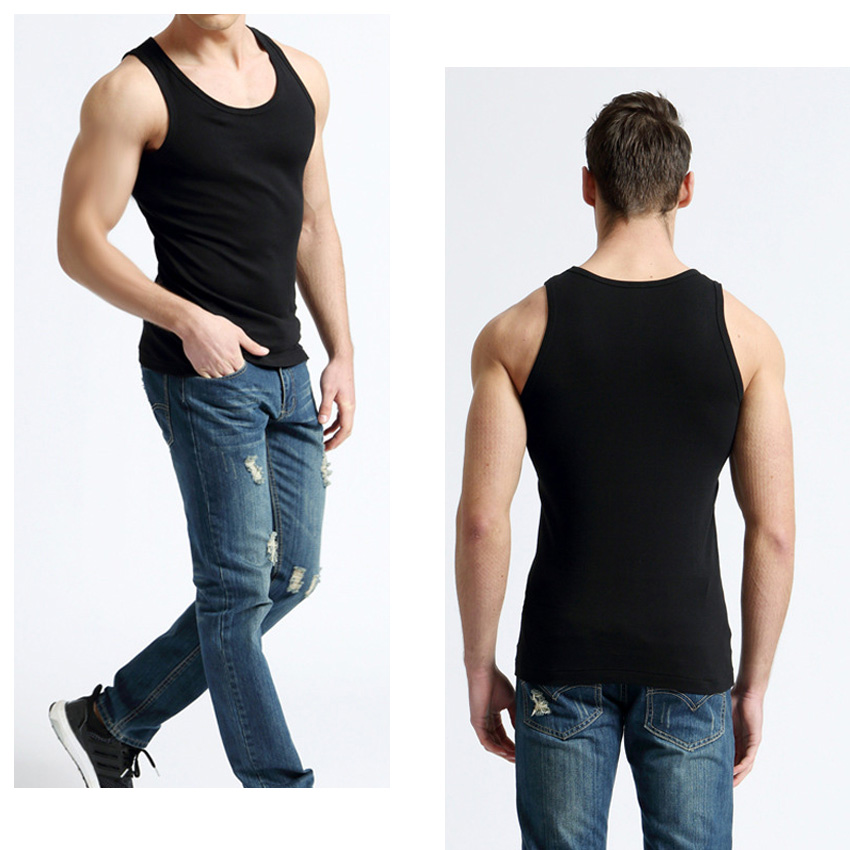 2 Pack Sumery Su Mens Tank Tops Cotton Youth Breathable Slim Fit Casual Vest Shirt,