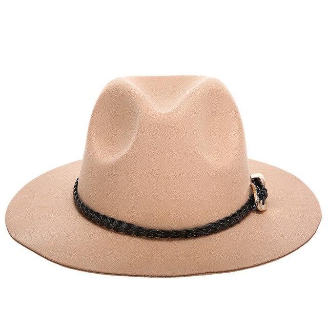 81f7bcb6806 Wool Jazz Hats Large Brim Felt Cloche Cowboy Panama Fedora Hat For Women  Black Trilby Derby Burgundy Red Fedora Hat With Belt