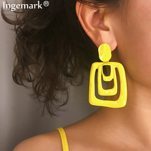 Ingemark Punk Irregular Square Shiny Metal Big Drop Earrings 2019  Women Modern Art party Hollow Rhombus Ear Jewelry Wholesale цена