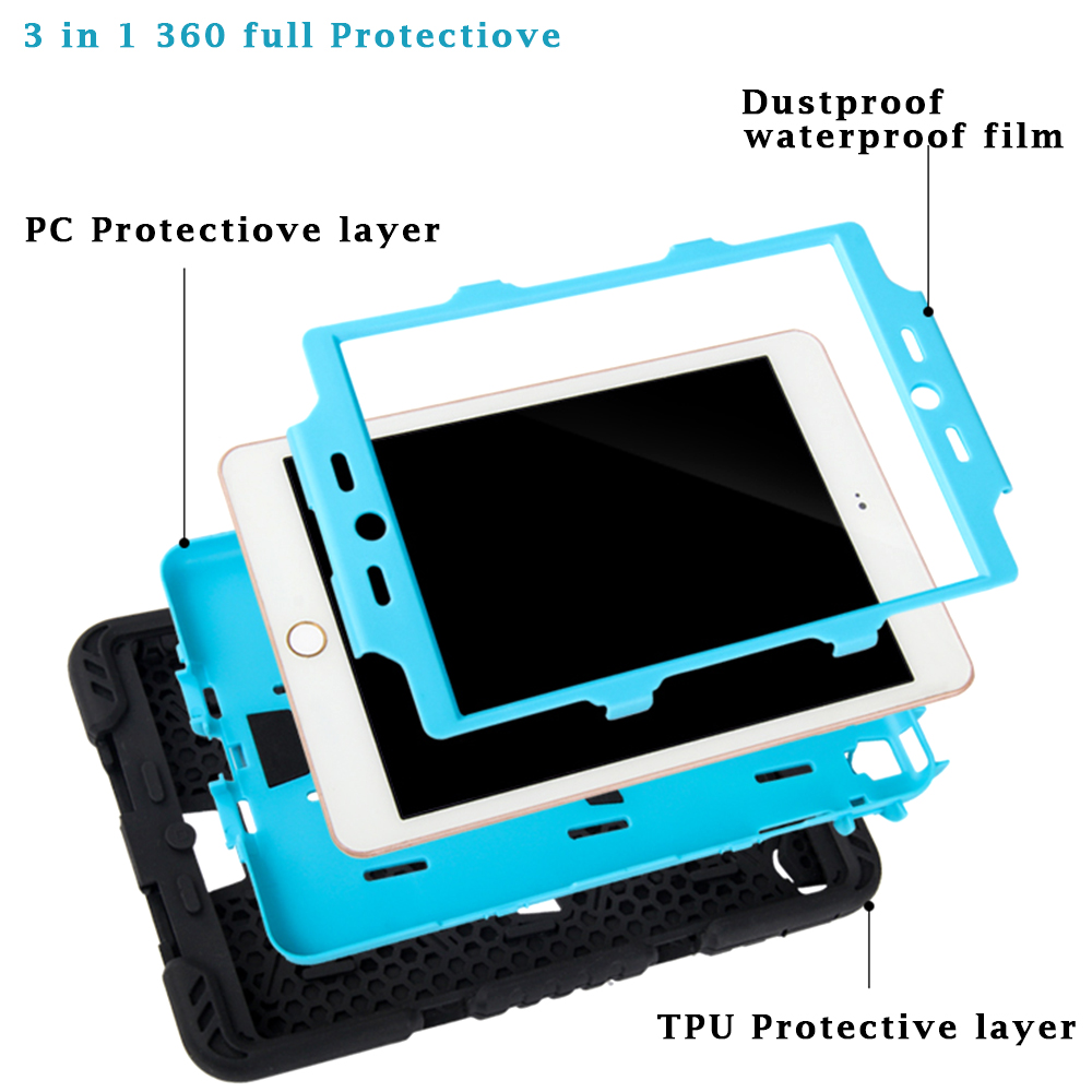 For iPad 2 Case 3 in 1 Protection Stand Cover  For apple ipad 2 3 4 Case 360 Full Shockproof Heavy Duty Silicone Hard Cover bag