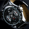 1 PC Winner Sport Mens Black Faux Leather Band Date Automatic Mechanical Wrist Watch