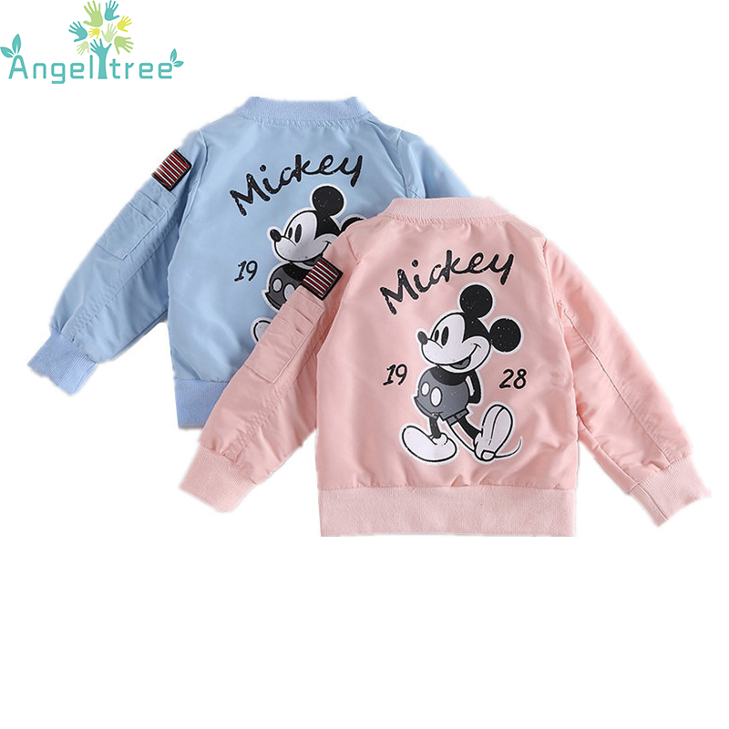 Angeltree 2018 Mickey Jacket Baby Clothes Girls Boys Coat Cartoon Printed Windbreaker Children Jacket Spring Kids Outerwear Coat