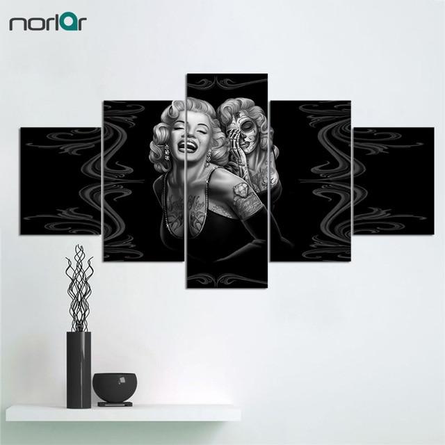 5 Painel De Pintura Da Lona De Marilyn Monroe Wall Art Pictures Pintura  Poster Do Filme