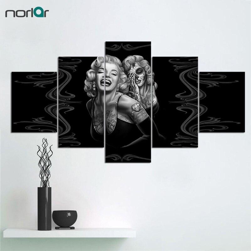 5 panelů Marilyn Monroe Obrazy na plátně Umělecké obrazy Filmový plakát Malování Personalizovaný dárek pro domácí dekoraci bez rámu
