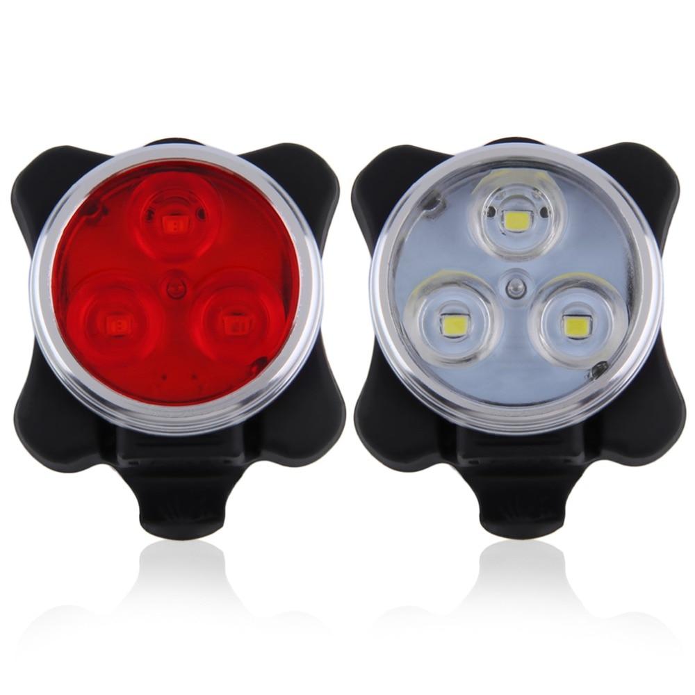 2 रंग व्यावहारिक साइकल चलाना बाइक 3 USB चार्ज केबल के साथ एलईडी हेड फ्रंट रियर टेल लाइट रिचार्जेबल बैटरी